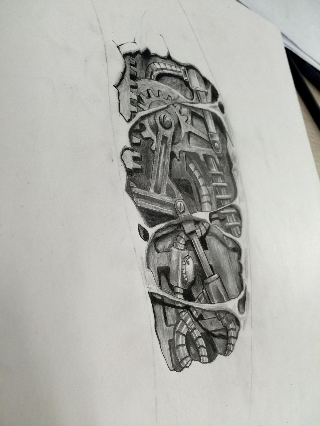 手绘练习 机械臂纹身
