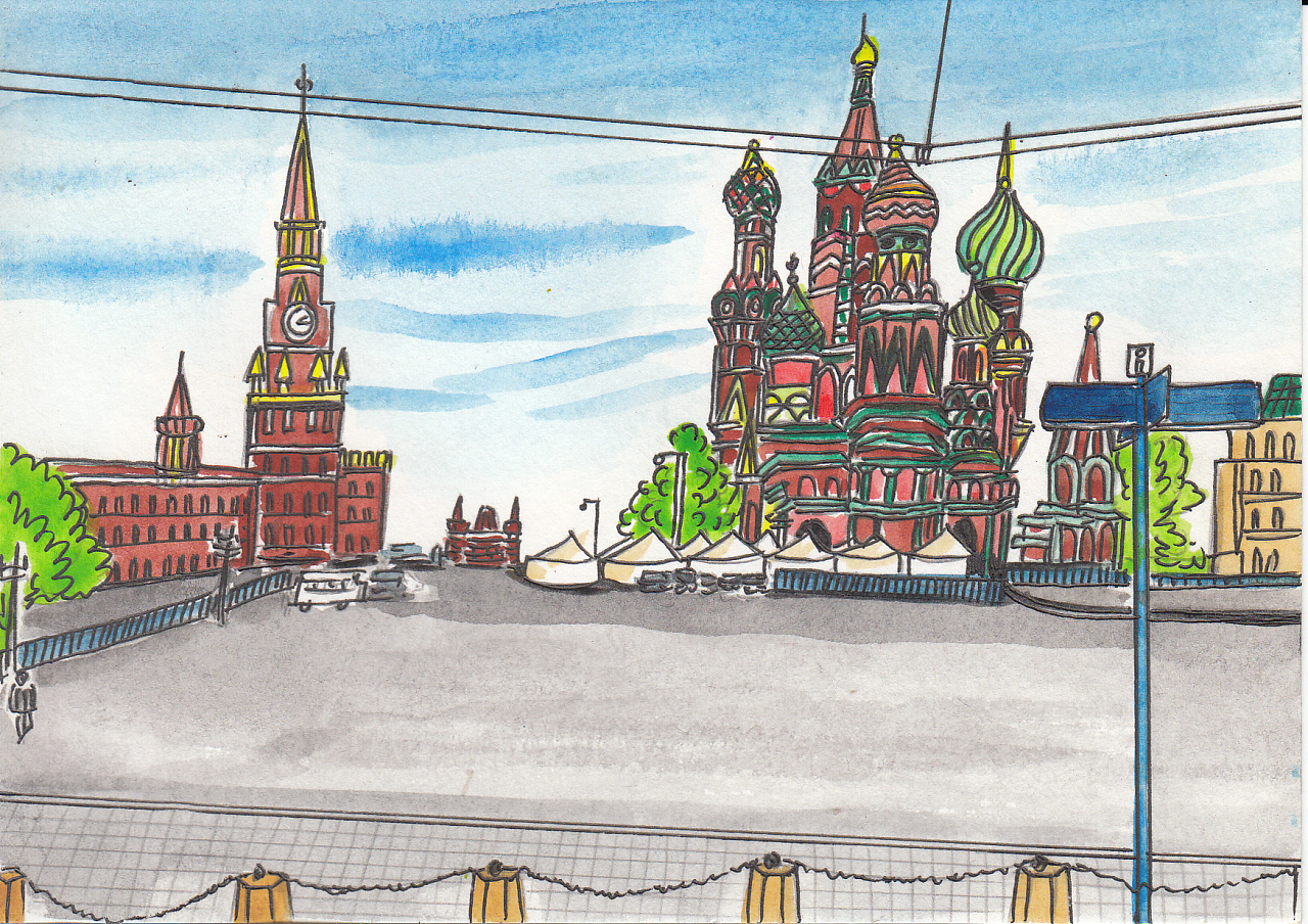 原创手绘明信片#-#俄罗斯3