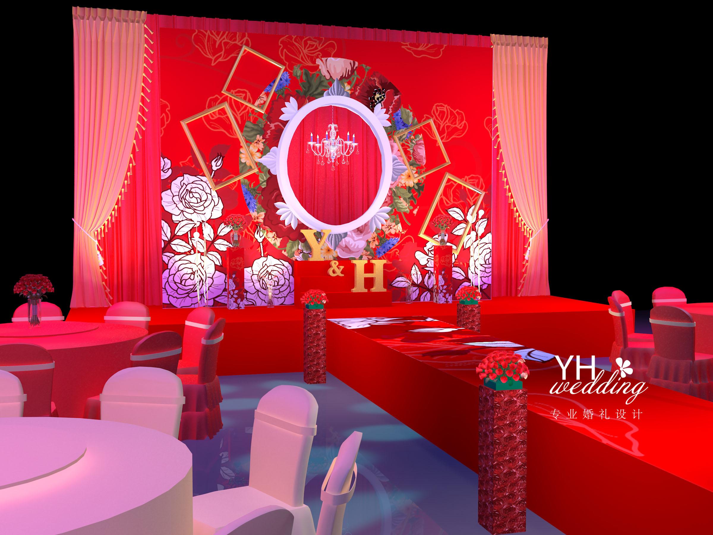 yhwedding:红色 中式风格婚礼3d效果图|空间|舞台美术图片