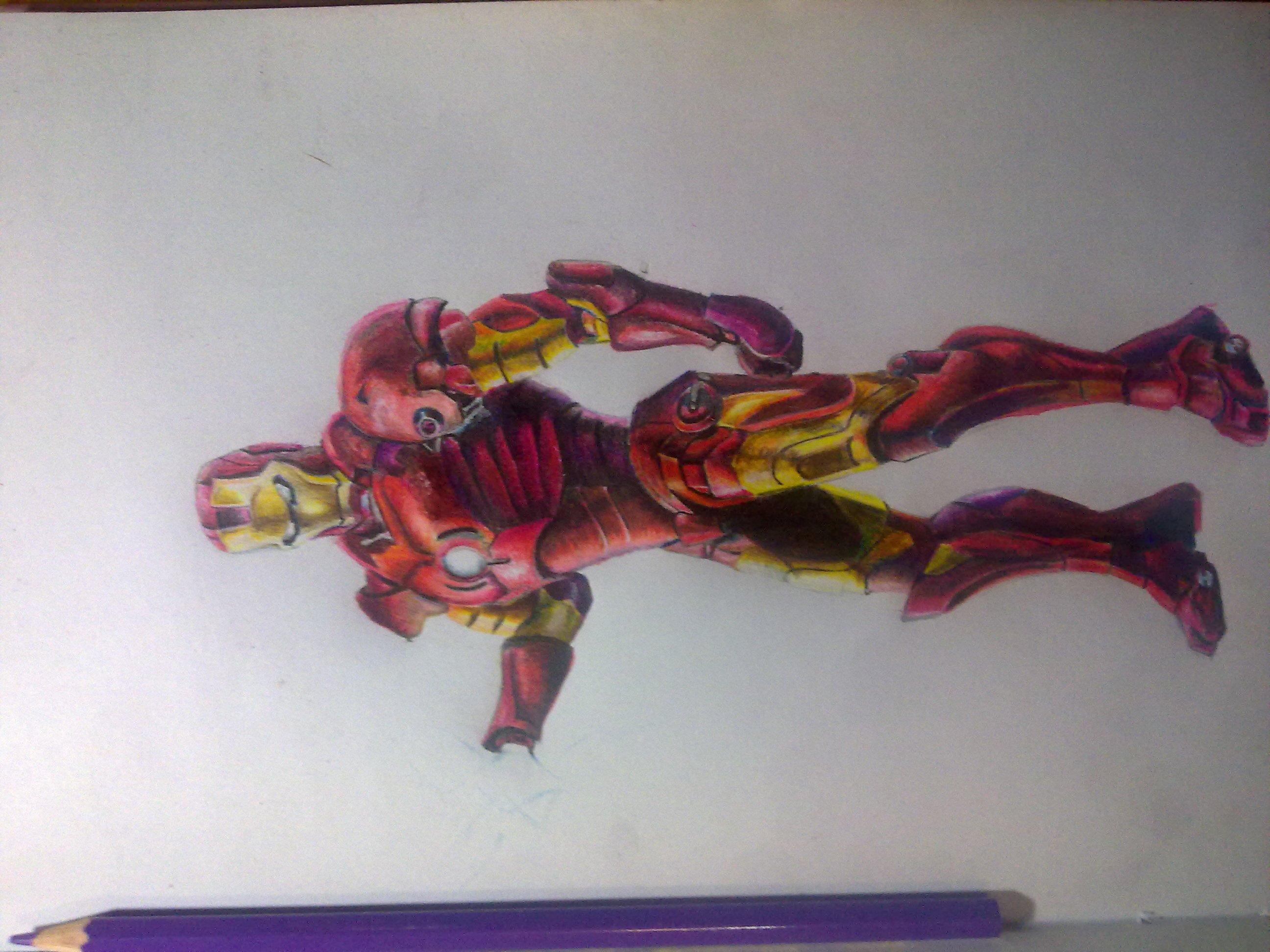 第一次尝试用彩色铅笔画的钢铁侠