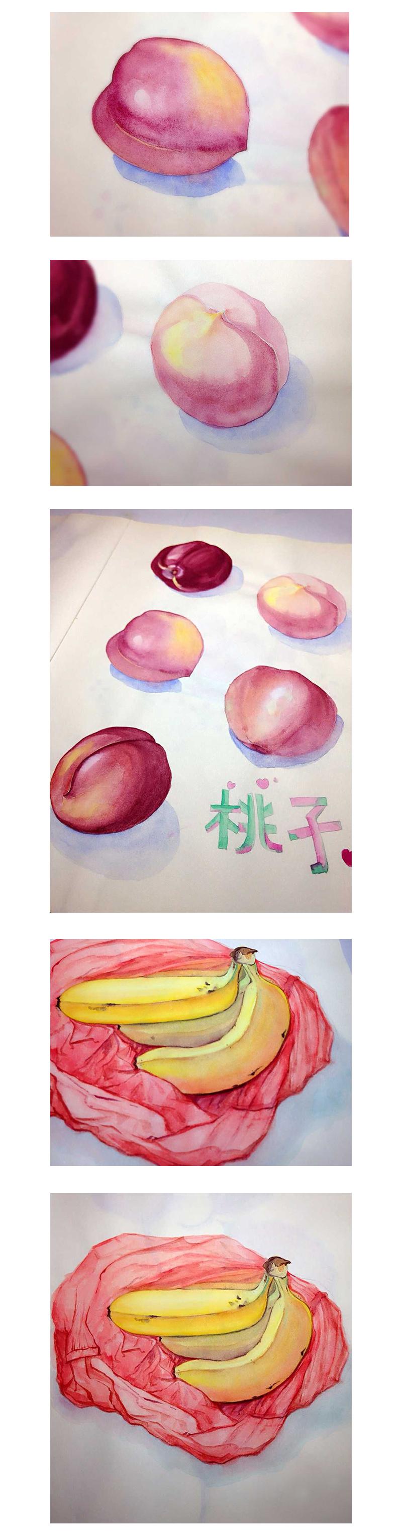 中秋节 月饼 贝壳 水果 手绘 |纯艺术|水彩|艾蜜莉的