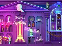 时装店铺墙上灯箱宣传海报