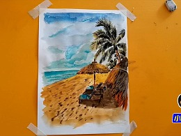 水彩画放飞心情夏日海滩-小尤说画