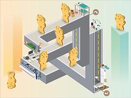 儿时的回忆-小熊饼干包装插画设计