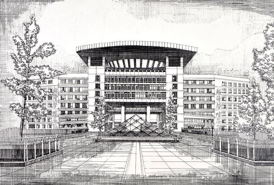 上战手绘 西南科技大学明信片作品|建筑设计|空间/|w