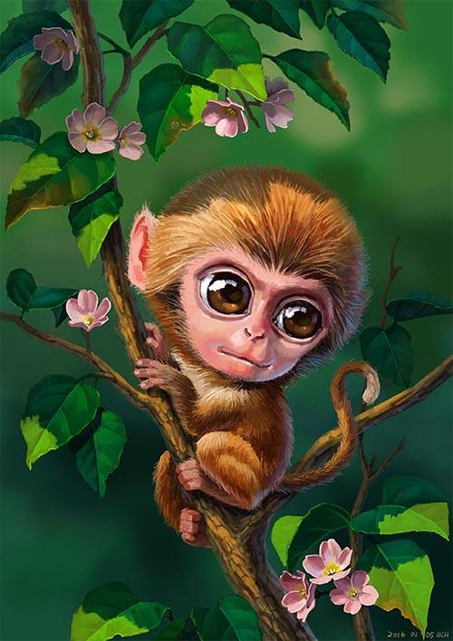 (娃他妈)手绘猴子插画|商业插画|插画|娃他妈