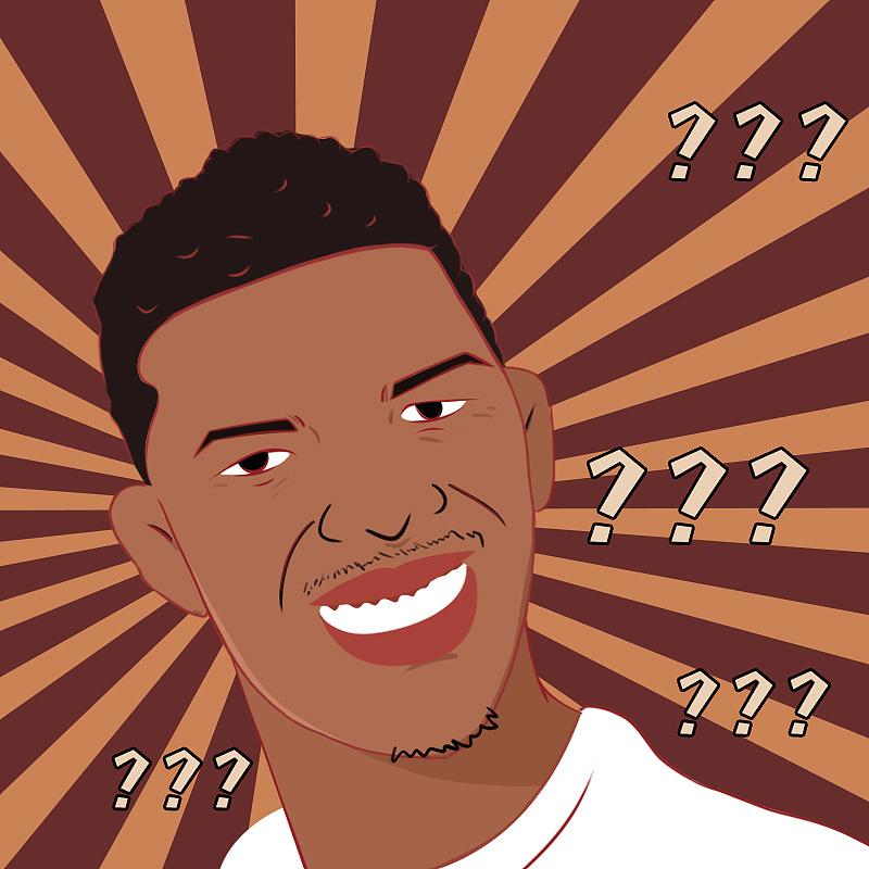 使用了球员尼克·杨的疑惑,懵逼的黑人问号表情包来描绘