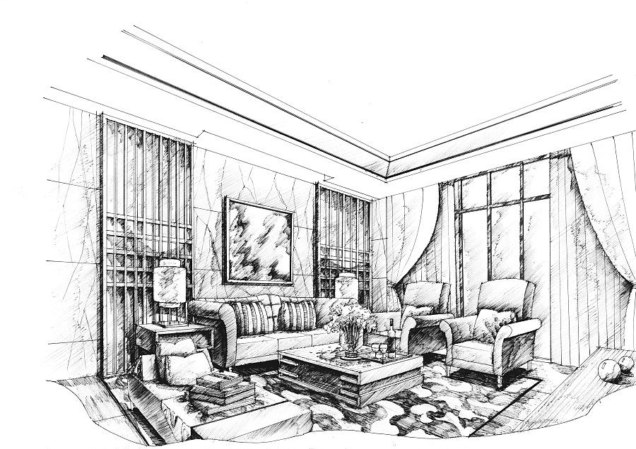 客厅效果图|室内设计|空间|mhc绘 - 原创设计作品