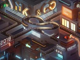 LYNK&CO壁纸设计, 《四驱车赛场-02之城》
