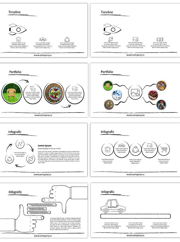 黑白手绘简约图形图标风格ppt模板|平面|ppt/演示|ppt