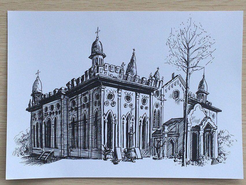 武汉著名建筑钢笔素描|纯艺术|钢笔画|松果画坊杨子