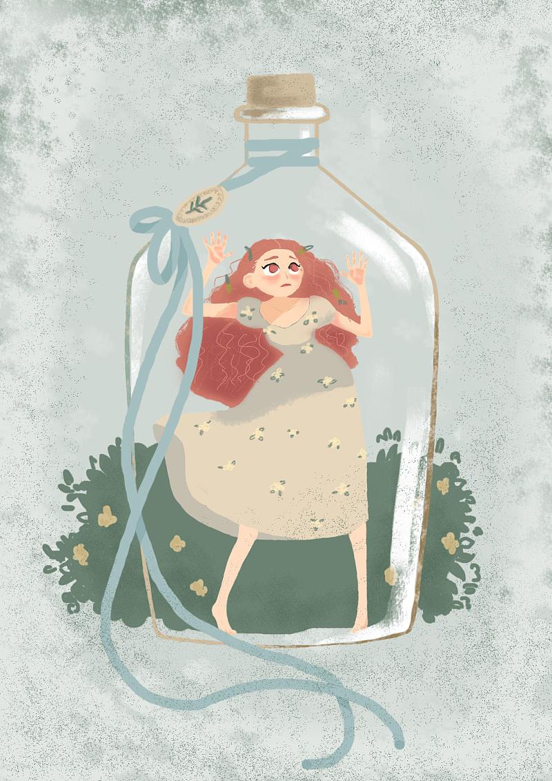 玻璃瓶女孩手绘