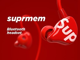 supreme 挂脖式蓝牙耳机
