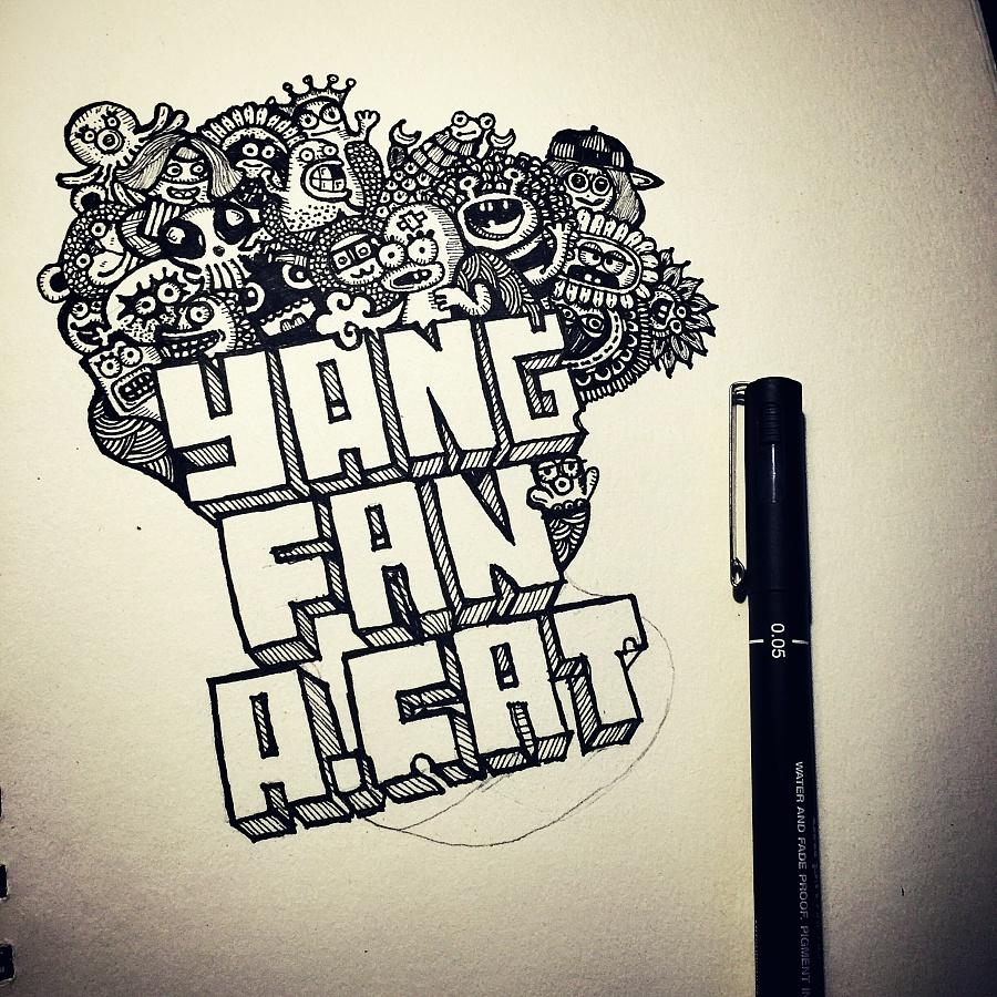 黑白手绘涂鸦|涂鸦/潮流|插画|王