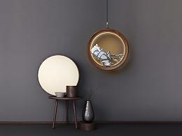 [木修远-月亮门]原创新中式禅意木吊灯室内软装搭配