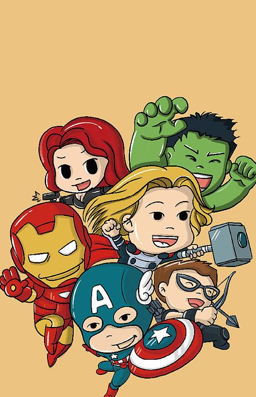 复仇者联盟卡通版 手绘卡通超级英雄 钢铁侠 美国队长