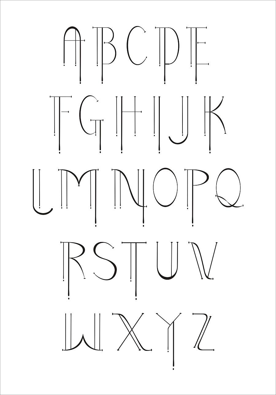 英文字母字体原创设计|字体/字形|平面|韵蓝