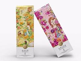 菊花玫瑰茶的包装插画设计