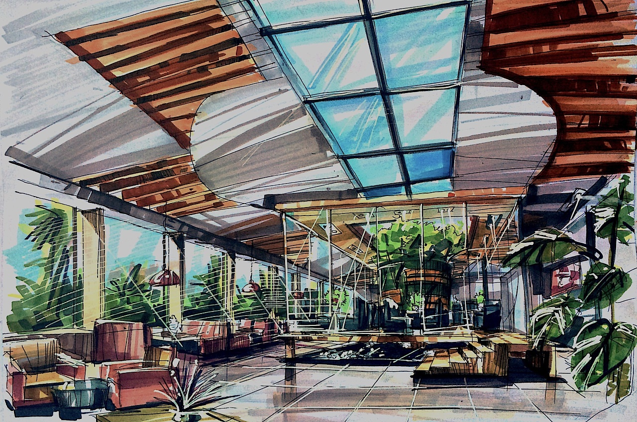 室内马克笔手绘|空间|室内设计|lhlhred - 原创作品