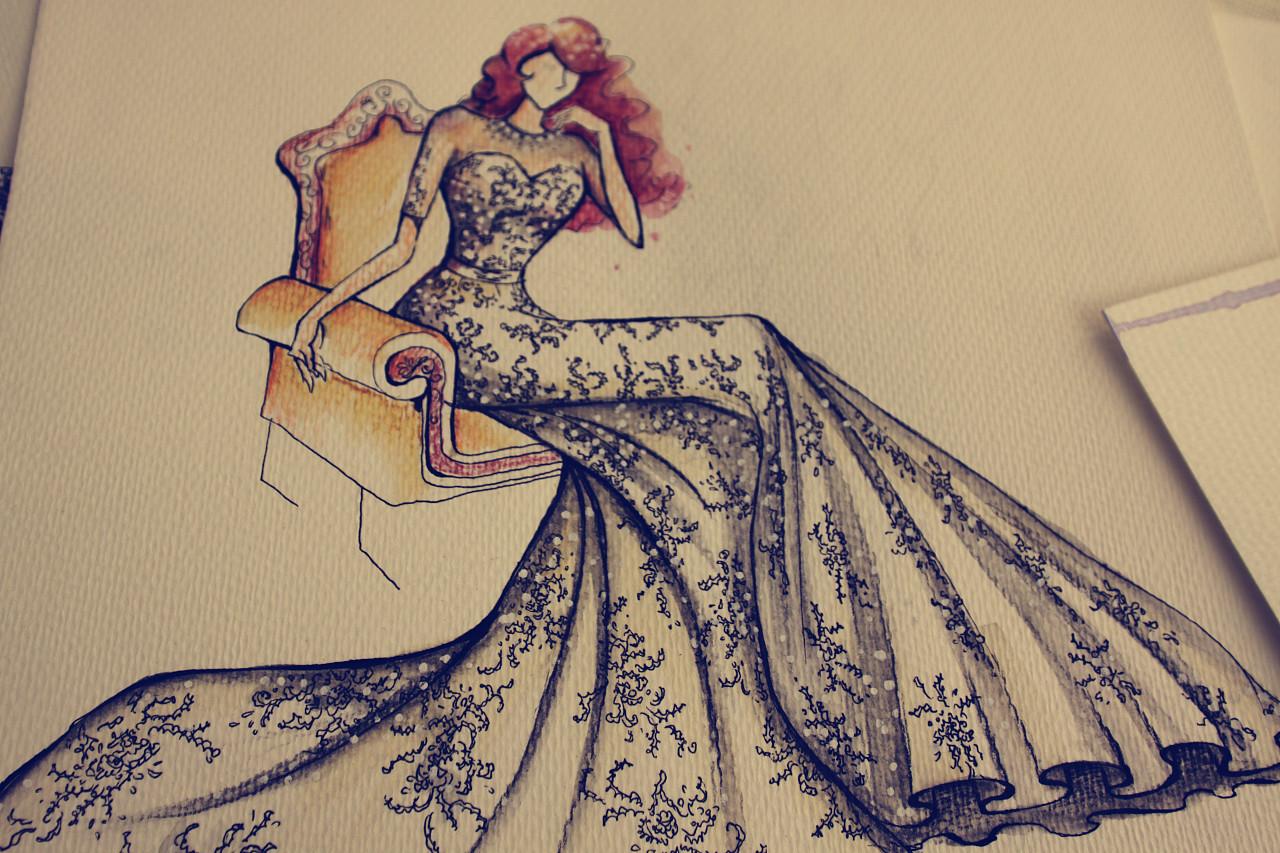 手绘婚纱效果图