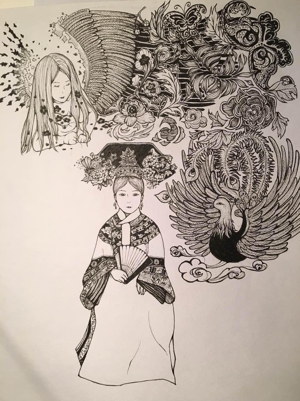 单色手绘线条画