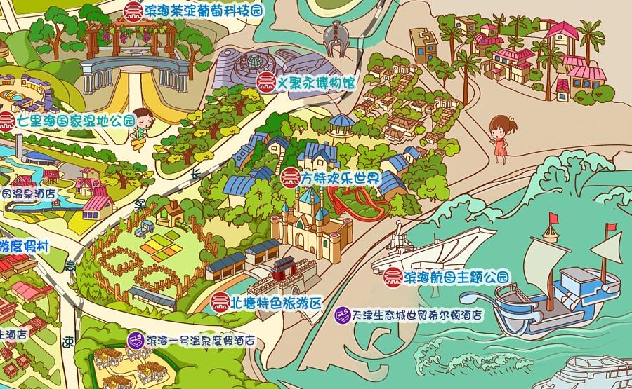 天津旅游手绘地图|dm/宣传单/平面广告|平面|马骏驰
