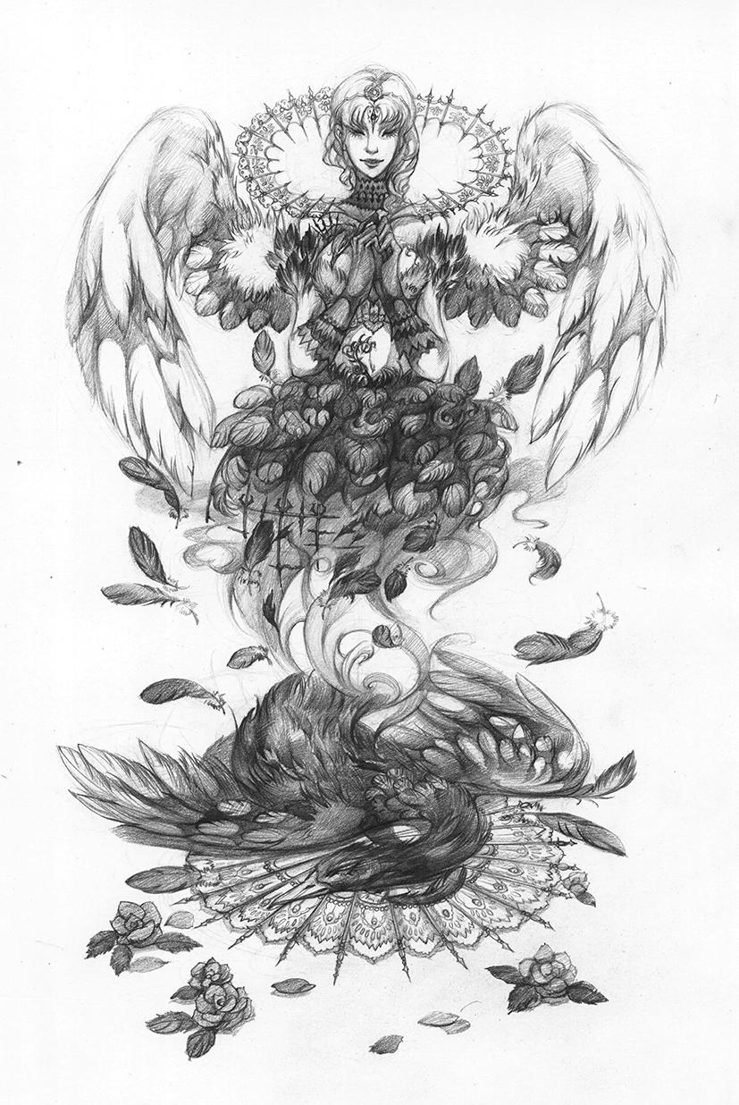 素描手绘图天鹅