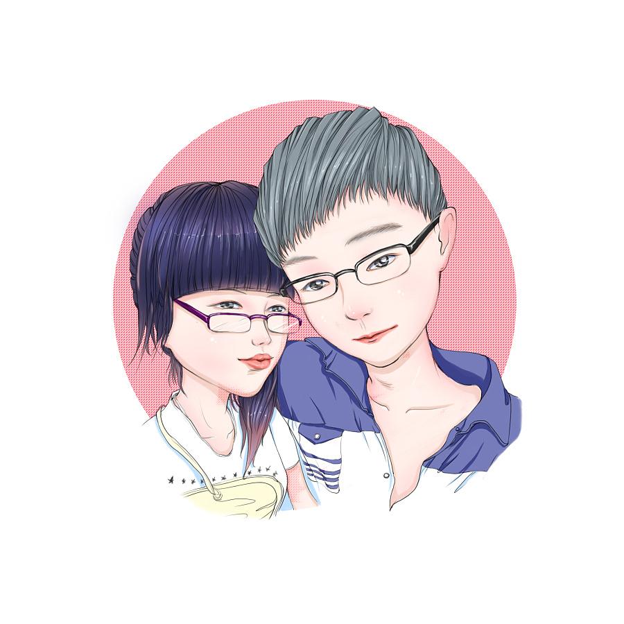 原创 手绘 q版人物头像 情侣头像 |商业插画|插画|毛