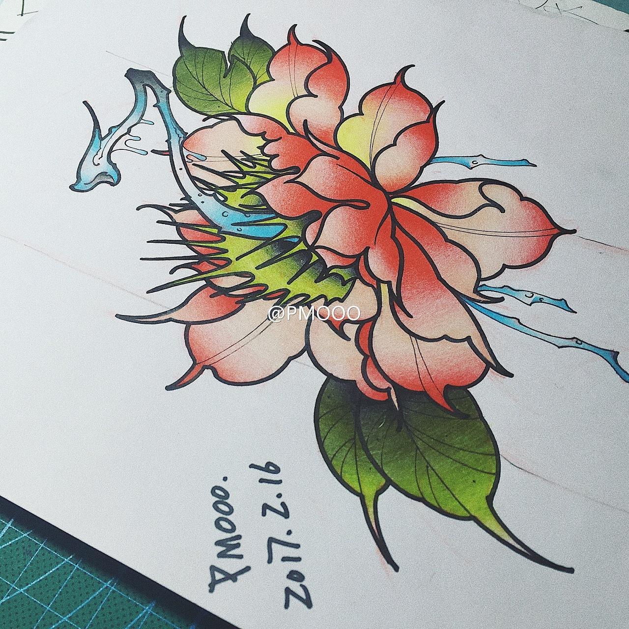 纹身手稿主题 食人花 牡丹