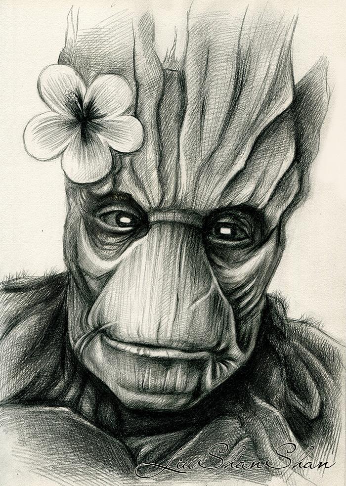 银河黑白手绘插画