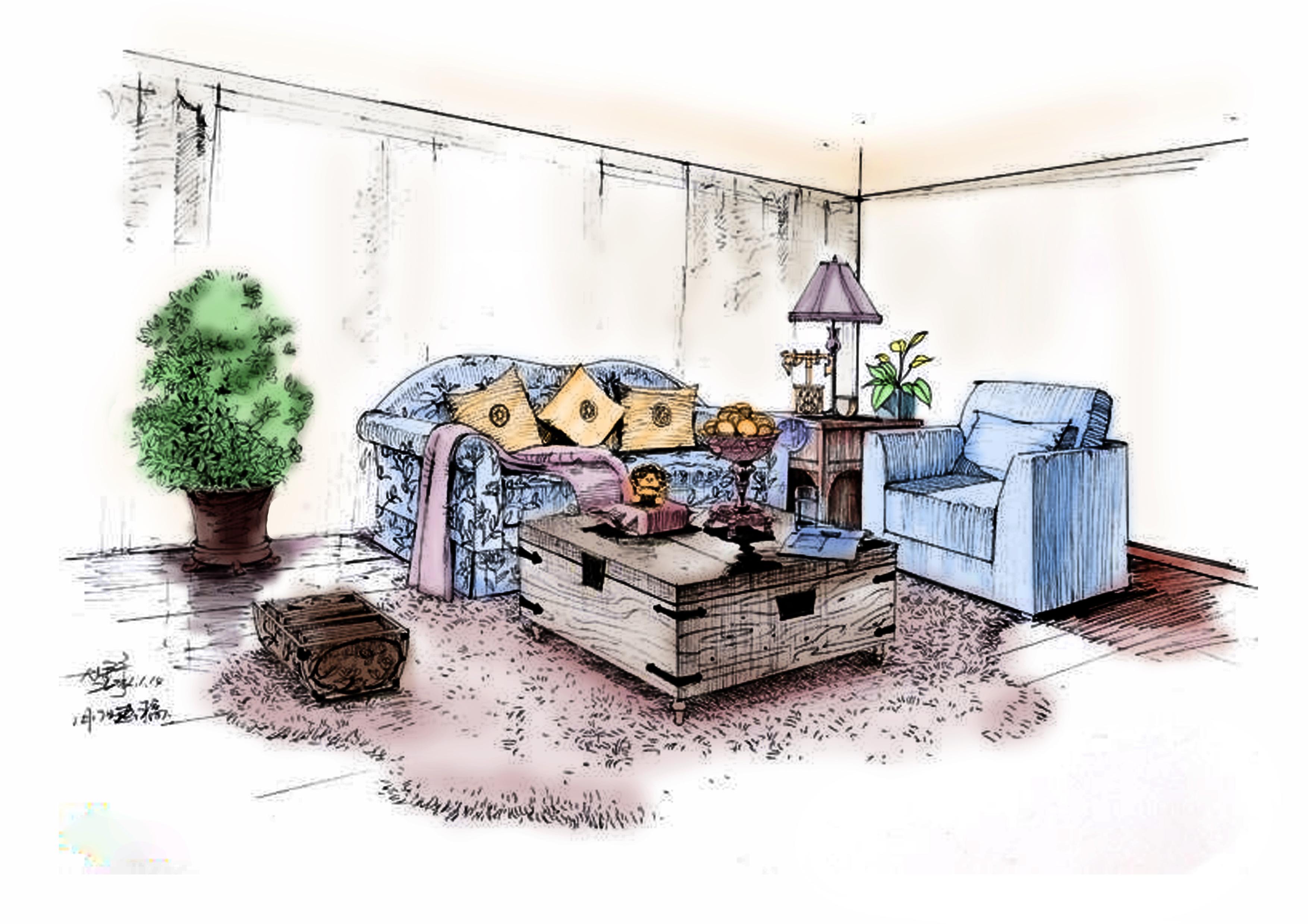 ps 室内手绘效果图 填色|空间|室内设计|小斌学长