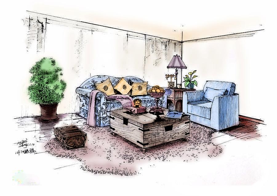 ps 室内手绘效果图 填色|室内设计|空间/建筑|小斌学