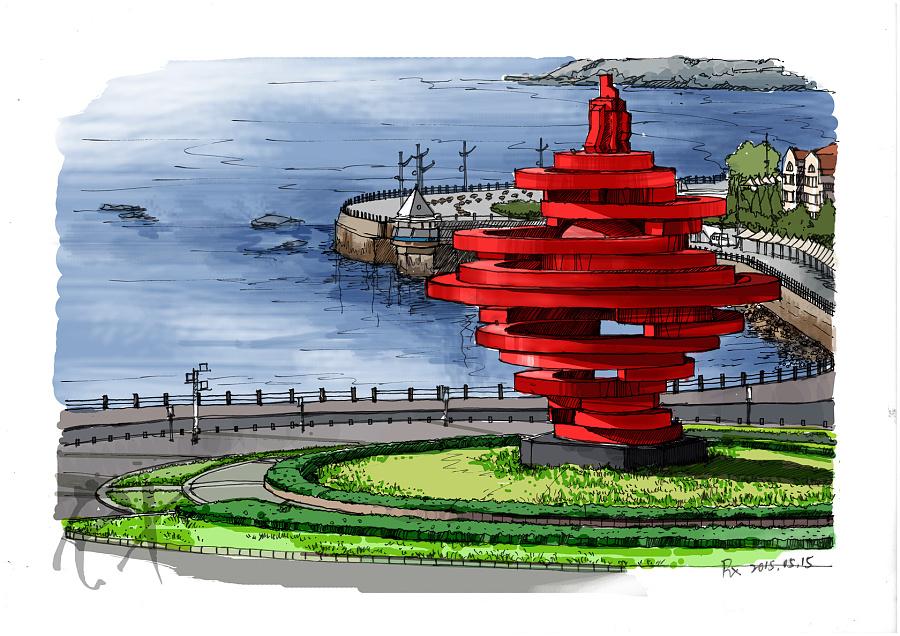 【手绘风景明信片】青岛五月的风|商业插画|插画|溶萱