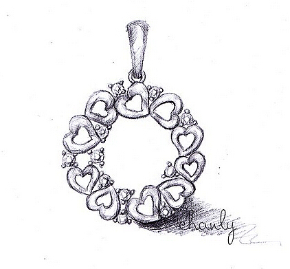 项链吊坠耳钉手绘