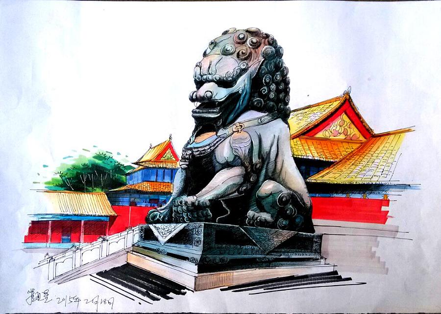 石狮子的手绘作品在马克笔的渲染下熠熠生辉