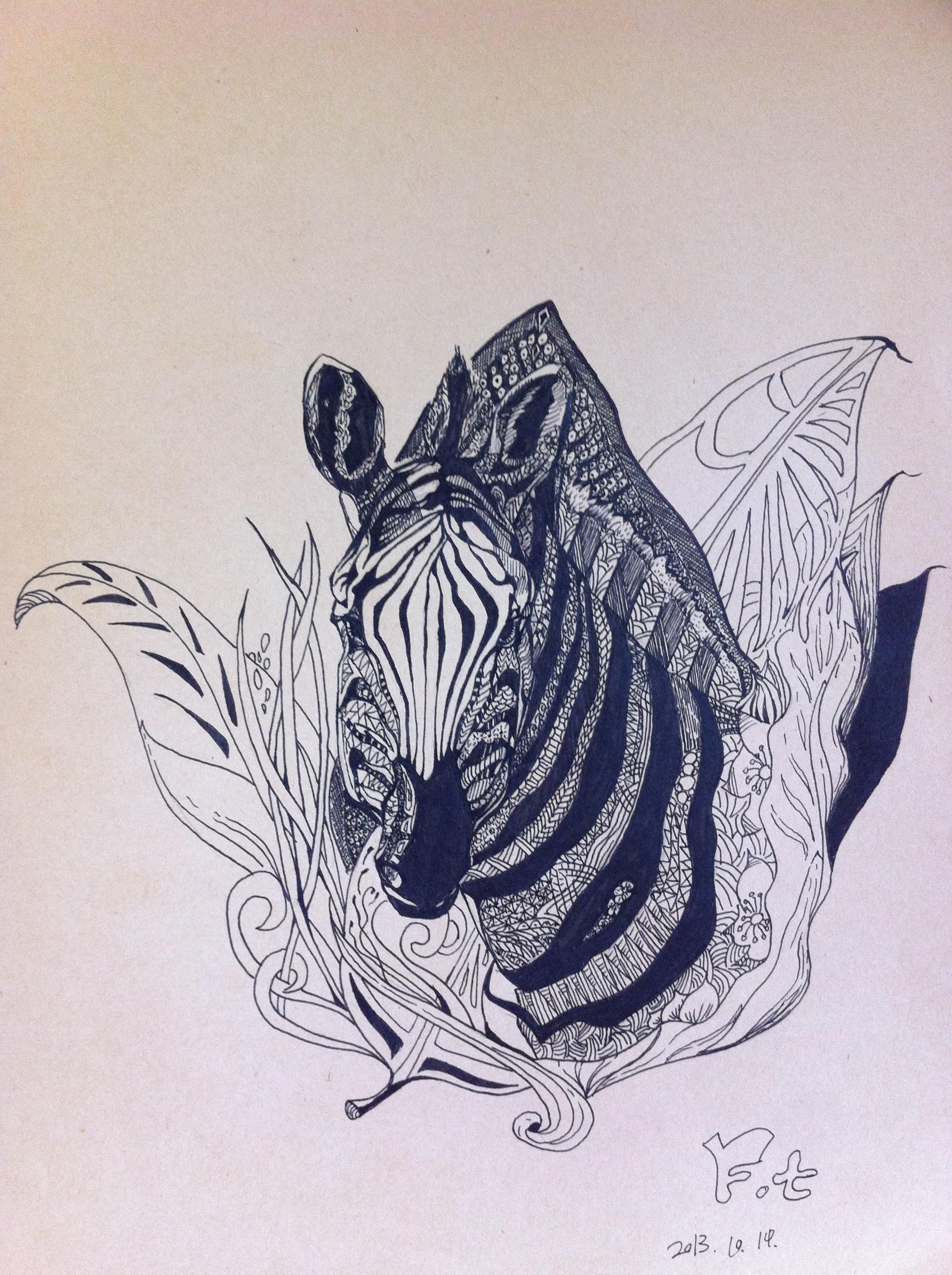 黑白装饰画练习——马图片