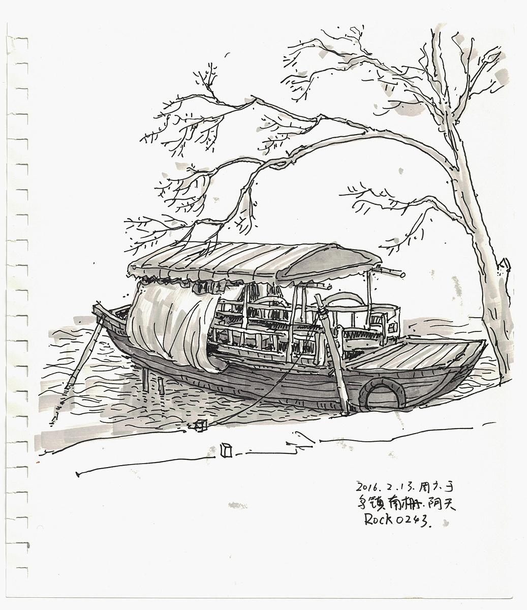 乌镇景色手绘线稿