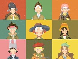 戴帽的男孩女孩们