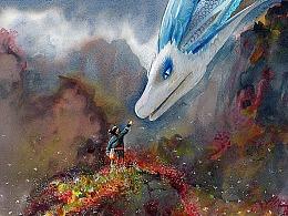 白蛇缘起—水彩作品