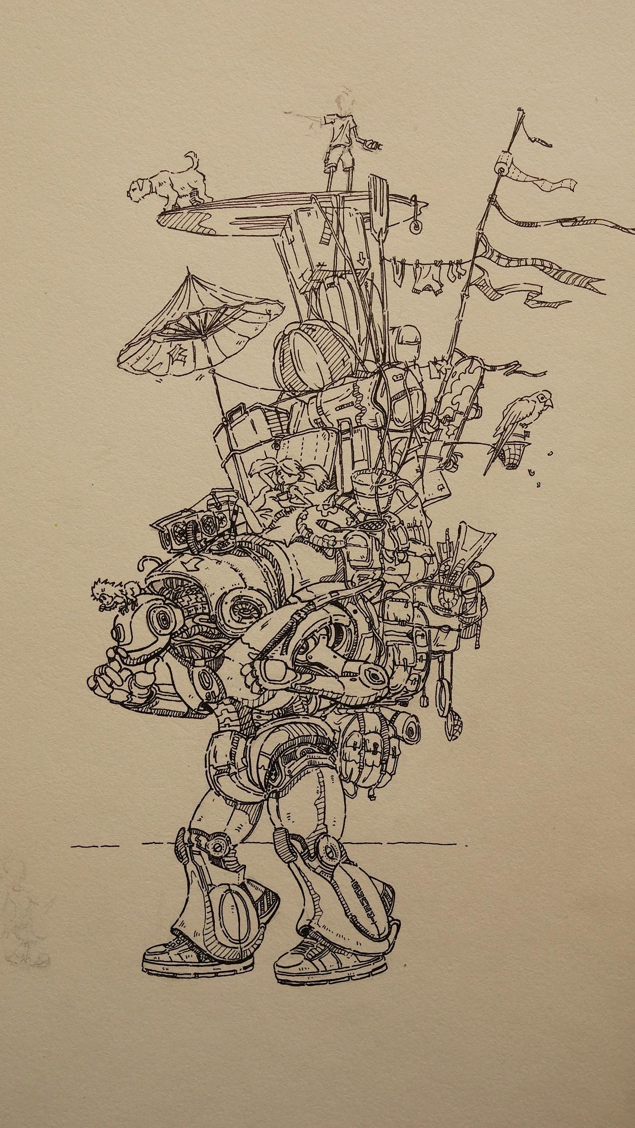 针管笔手绘(临摹电脑原作)