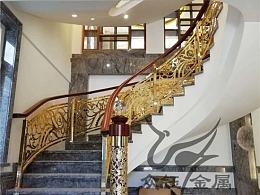别墅设计铝艺雕花护栏 整体铝板镂空雕刻旋转楼梯护栏