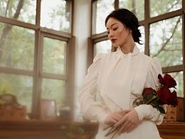 兰奕设计,重磅真丝复古领结衬衫裙