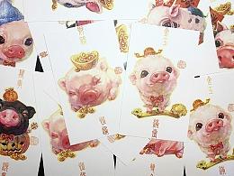 """""""猪猪过新年""""明信片"""