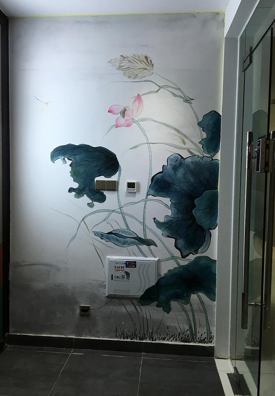 中式手绘墙|墙绘/立体画|其他|九月手绘艺术