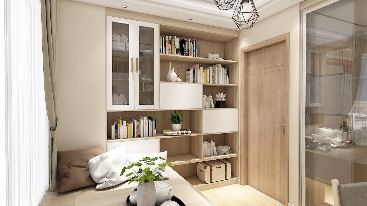 现在原木清新客厅隔断 榻榻米书柜图片