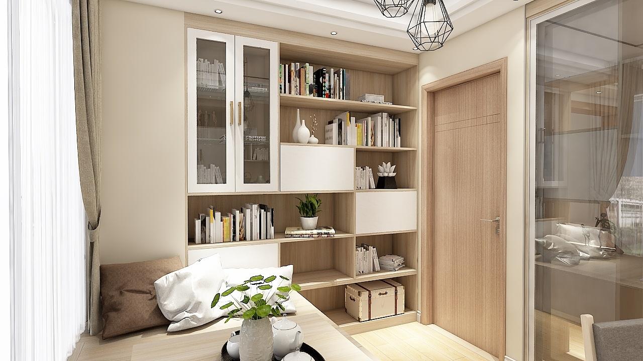 现代原木清新客厅隔断 榻榻米书柜