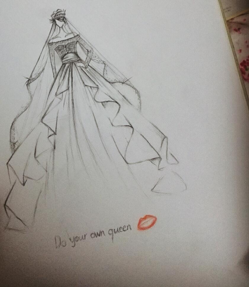 手绘婚纱美女锁屏主题|绘画习作|插画|云非云