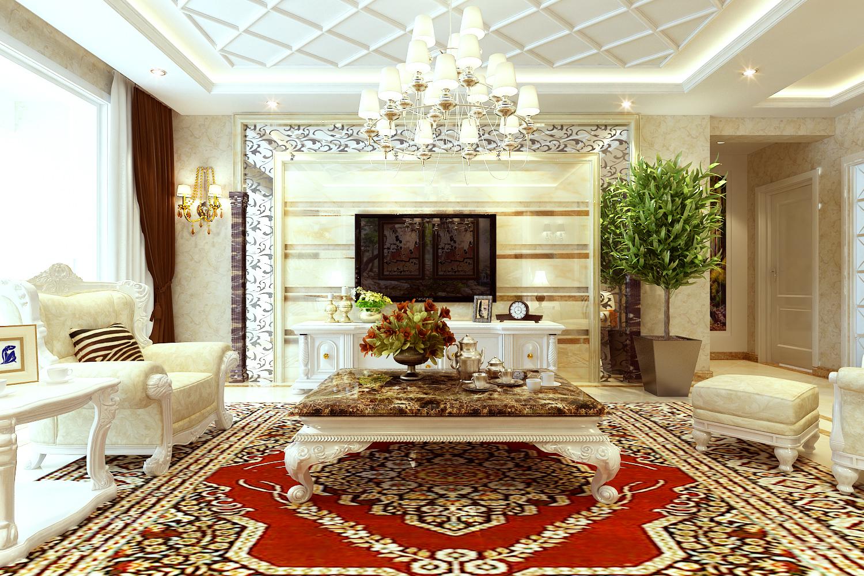 盛世御城b-01户型125平米三室欧式奢华风格装修参考设计图