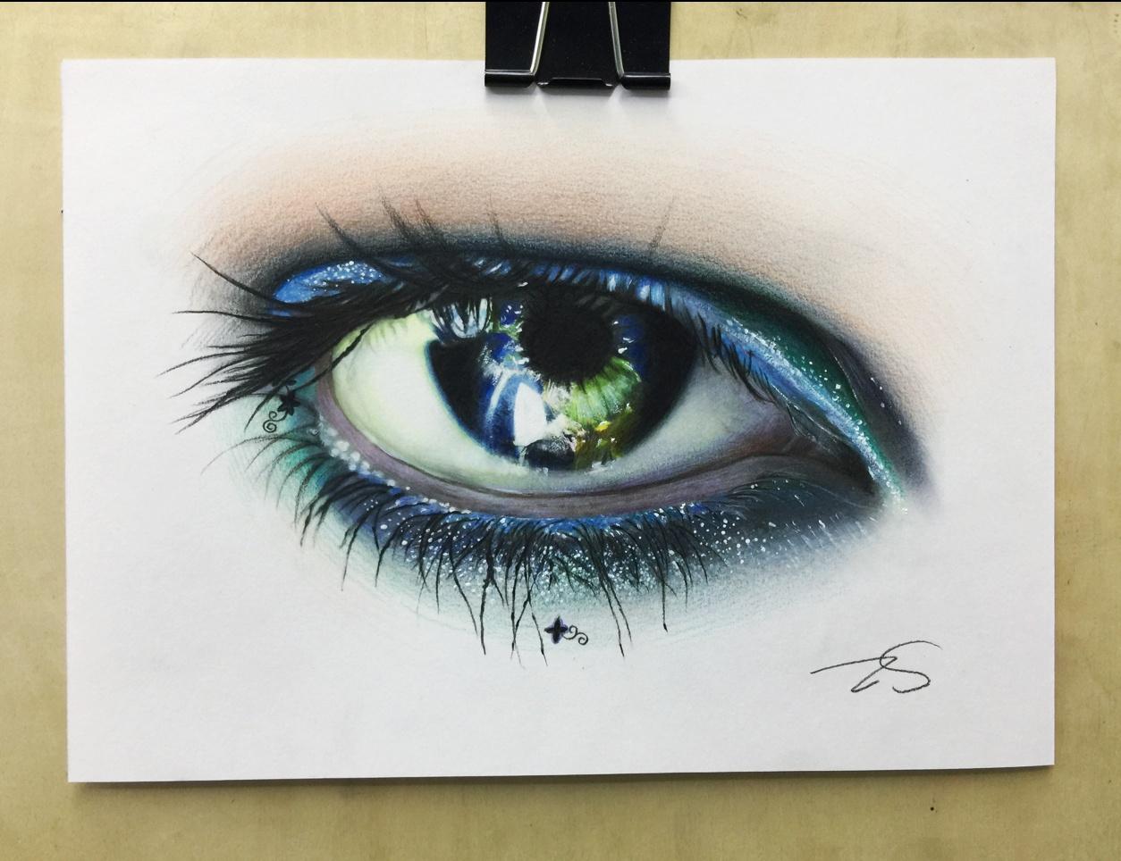 彩铅手绘大眼睛|纯艺术|彩铅|zszszswt - 原创作品
