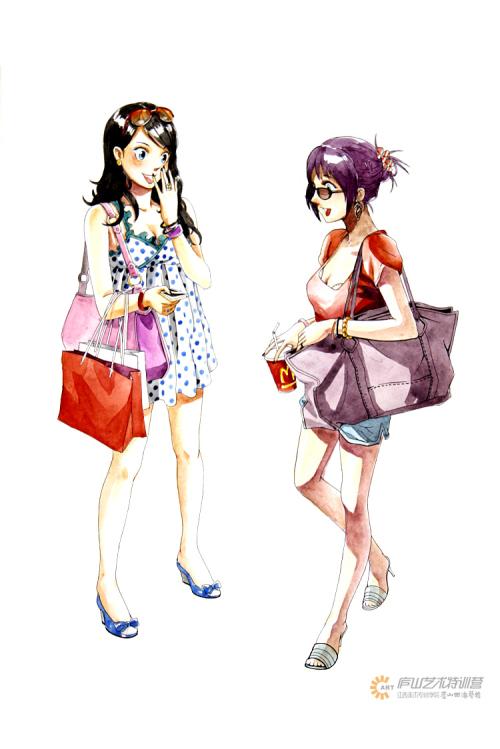 服装马克笔手绘系列——黄哲老师|服装|休闲/流行服饰